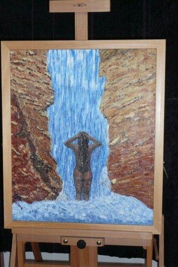 Vrouw onder waterval olieverf