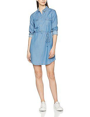 UK 8, Blue, Springfield Women's 5.t.Vestido Denim Tencel Casual Dress NEW