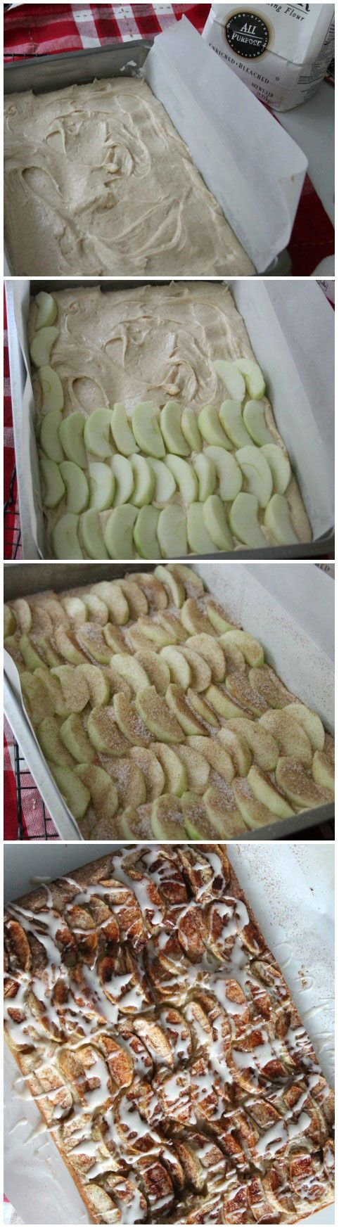Apple Cake, also known as an Apple Kuchen, simple vanilla cake, topped with sliced apples and a cinnamon sugar mixture. Makes a great presentation for any occasion!