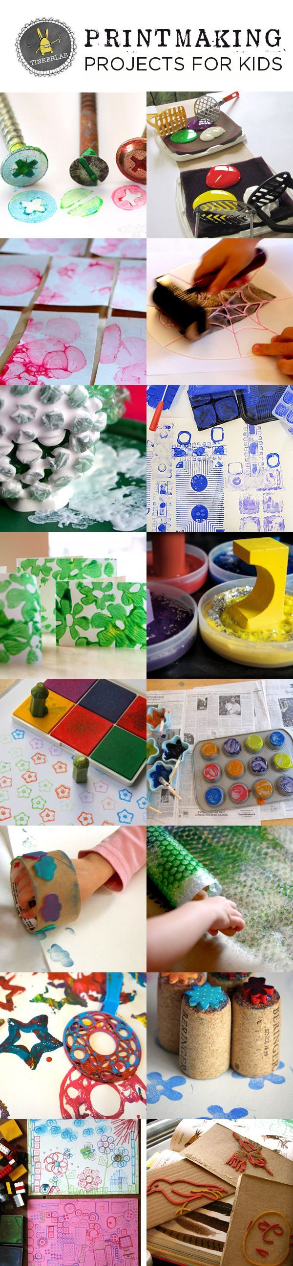 These simple printmaking projects for kids use everyday supplies and won't break your budget. Sure to please!