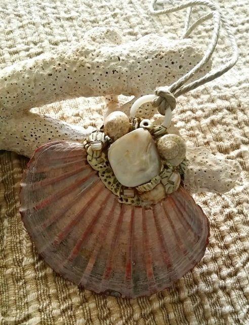 S H E L L + C O R A L - pink fan shell pendant: saltwateradornment.cpm.au