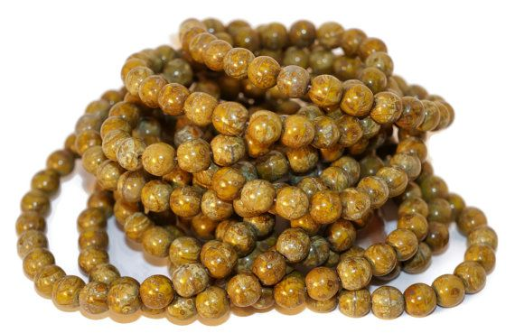 Picasso Czech Glass Beads Round Green Brown Original Exclusive Authentic 6mm 20pc  #beads #czechbeads #czechoriginalbeads #czechauthenticbead #czechglassbeads #glassbeads #picasso #picassobeads #czechbeadspicasso #etsy