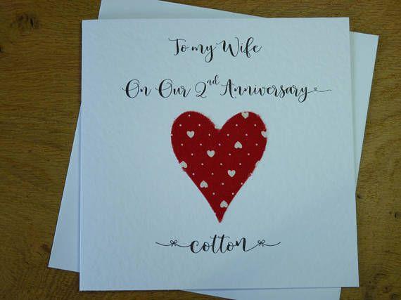 2nd Wedding Anniversary Card Cotton 2nd Anniversary 2 Years Etsy 2nd Wedding Anniversary Wedding Anniversary Cards Marriage Keepsake