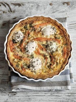 Киш с лососем и козьим сыром - фото рецепт