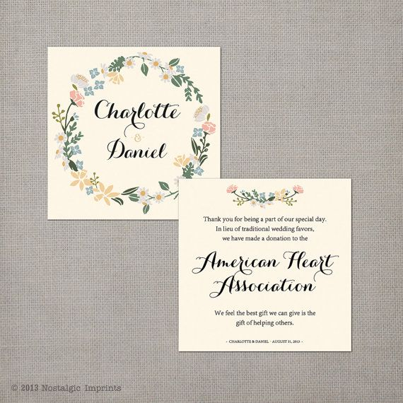 50 Wedding Favor Donation Cards  the by NostalgicImprints on Etsy, $25.00