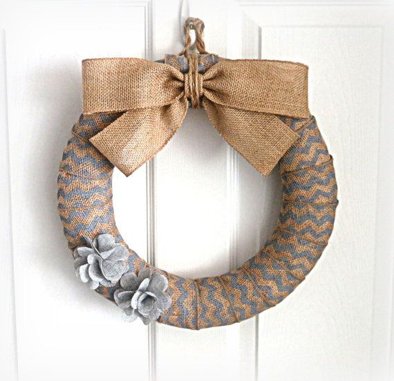 Light Gray Chevron Burlap Wreath  Everyday by WeddingsAndWreaths