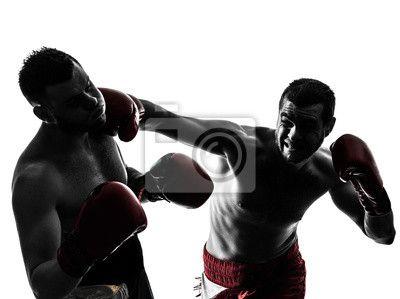 Obraz lub Plakat  wyciąć, Ćwiczenie, ćwiczenie - dwóch mężczyzn wykonujących sylwetka boks tajski ✓ Szeroki wybór materiałów ✓ 365 dni na zwrot towaru bez podania przyczyny ✓ Sprawdź opinie naszych klientów!