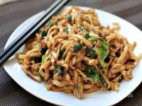 Stir Fried Shanghai Noodles with Ground Pork and Napa Cabbage Recipe | Say Mmm