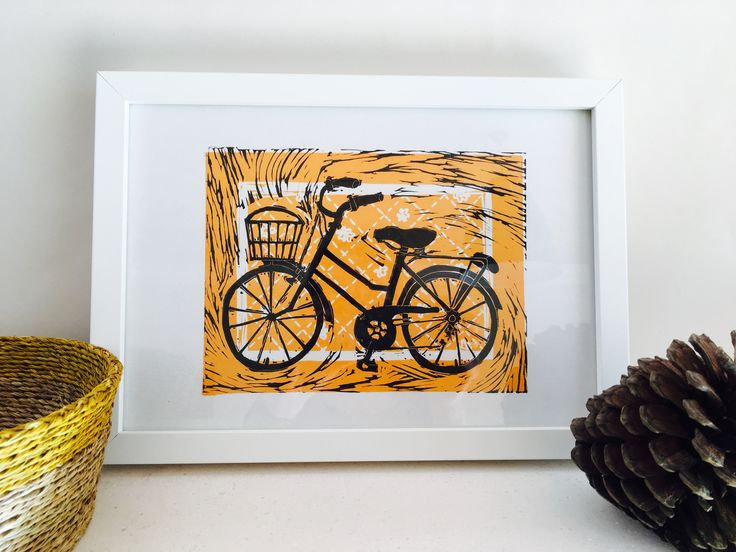Bicycle linocut print 2016