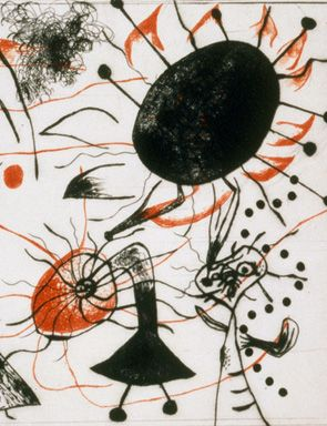 Joan Miro, Black and red series, 1938 (detail). Drypoint. 17 x 25,7 cm.