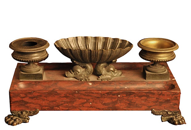 French Empire marble and bronze inkwell, c. 1860.Inkwell 2 899 00, French Inkwell, Bronze Inkwell, Inkwells Pens, Antiques Inkwell