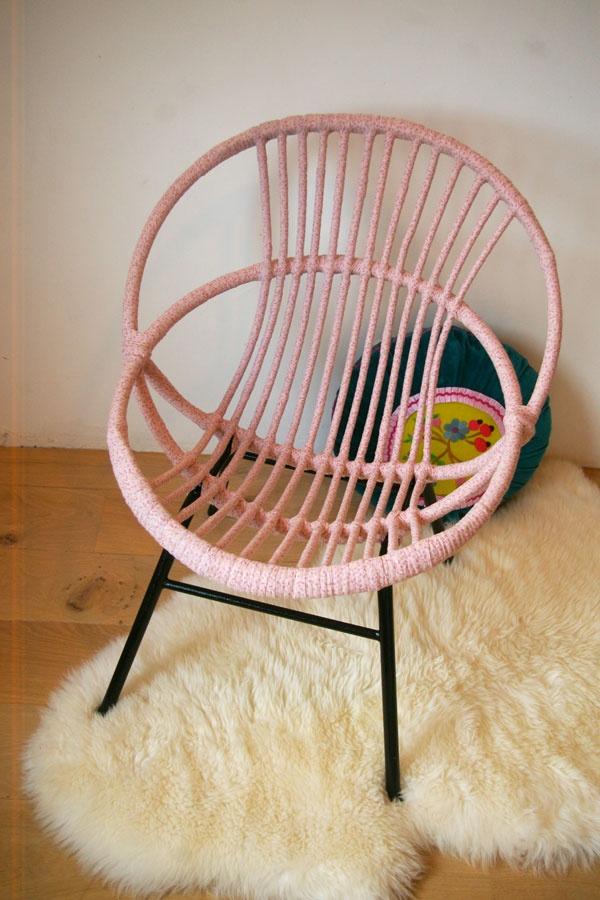 rieten stoel omwikkelen met wol