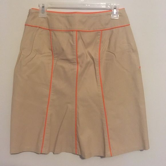 """Boston Proper Pleated Back Piped Pencil Skirt Great khaki pencil skirt with neon orange trim throughout and a nice flair back for a feminine touch. So easy to dress up with heels or down with sandals for casual. Freshly dry cleaned and ready to wear! Length 20"""" Boston Proper Skirts Mini"""