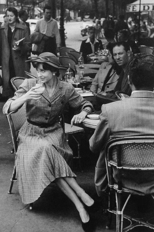 Paris cafe fashion, 1950s.
