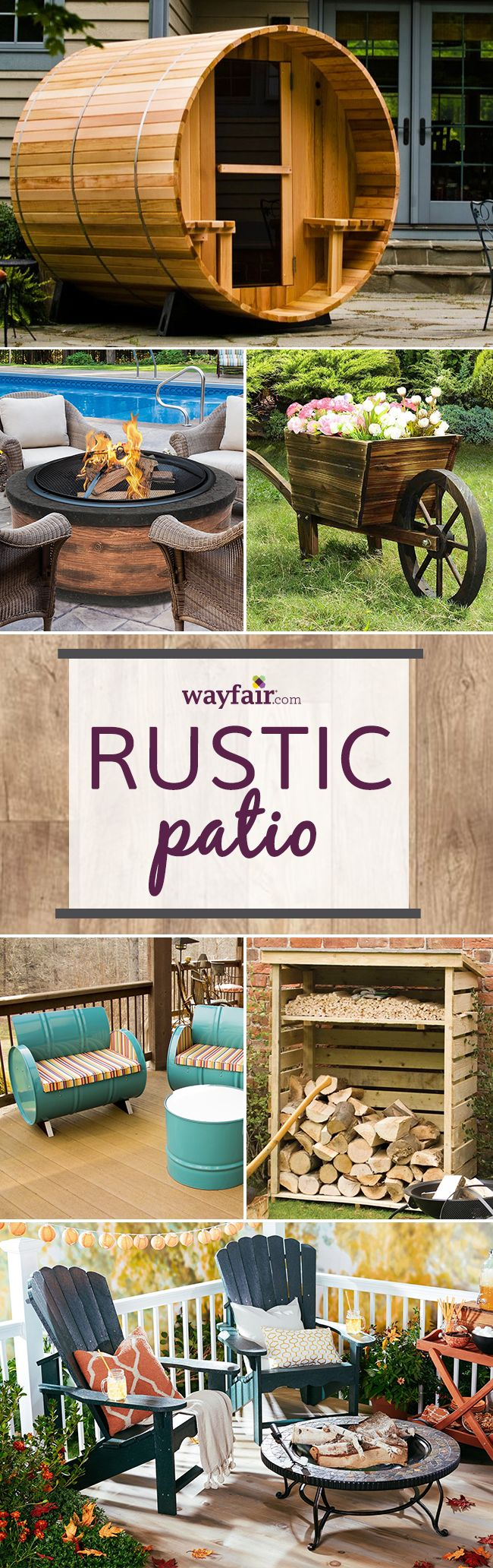 Want to go rustic? Bring this natural, simple and rugged look to your own backyard. Visit Wayfair and sign up today to get access to exclusive deals everyday up to 70% off. Free shipping on all orders over $49.
