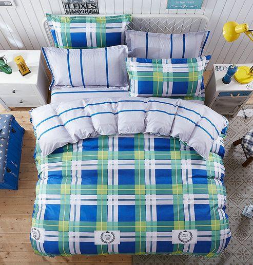 Obojstranné posteľné obliečky so zeleným károvaným vzorom