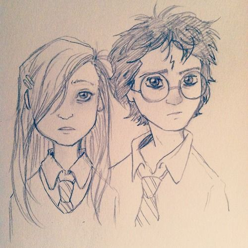 Ginny and Harry. This is cute but it doesn't portrays Ginny's personality. She looks all shy. But she's not.