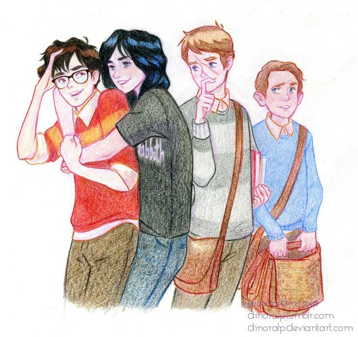 Дж.Роулинг. Гарри Поттер. Harry Potter. Рисунки. Мародеры. Джеймс, Сириус, Ремус и Питер.