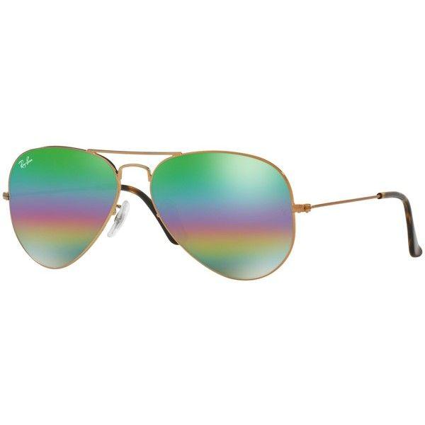 Ray-Ban Original Aviator Rainbow Mirrored Sunglasses, RB3025 58 (£135) ❤ liked on Polyvore featuring men's fashion, men's accessories, men's eyewear, men's sunglasses, men's mirrored sunglasses, mens aviator sunglasses, mens mirrored aviator sunglasses an