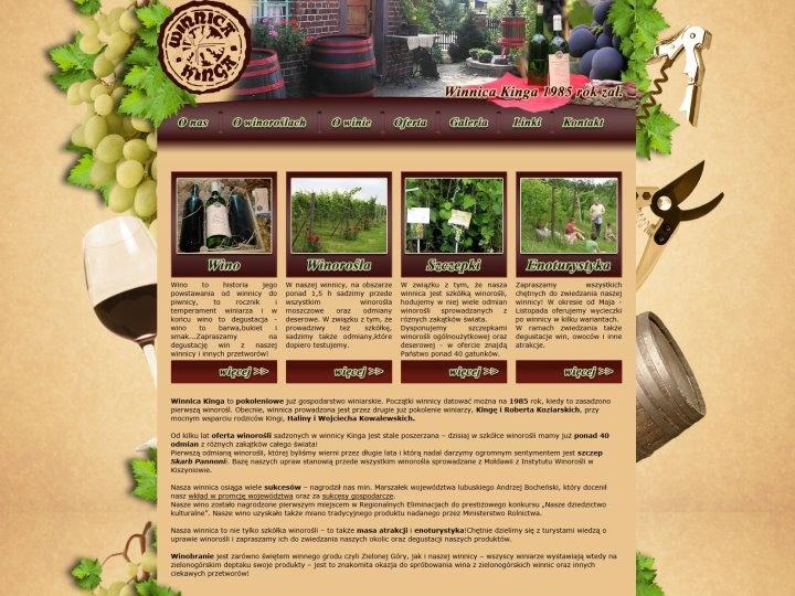 Strona internetowa jednej z podzielonogórskich winnic Kinga pwostała przy okazji zielonogórskiego święta Winobranie 2011. Właściciele winnicy chcięli zrobić swoim fanom prezent z okazji jubileuszowego winobrania i w tym celu poprosili nas o stworzenie nowego Layoutu!   Zapraszamy gorąco!