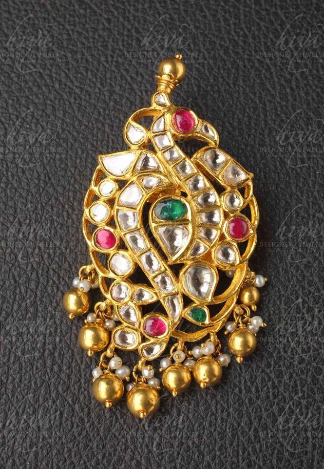 Kundan Peacock Pendant from Hiya Designer Jewellery www.addiga.com