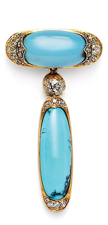 Antique Gold and Turquoise Pendant/Brooch, the turquoise cabochon with old mine- and rose-cut diamond terminals suspending a bezel-set old mine-cut diamond weighing approx. 0.90 cts. and a conforming turquoise drop, lg. 2 1/2 in.