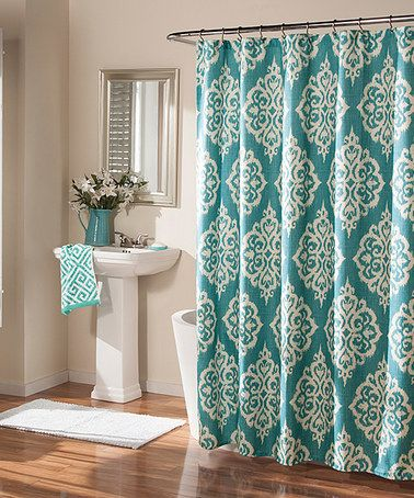 Loving this Aqua Tangier Turquoise Shower Curtain on #zulily! #zulilyfinds