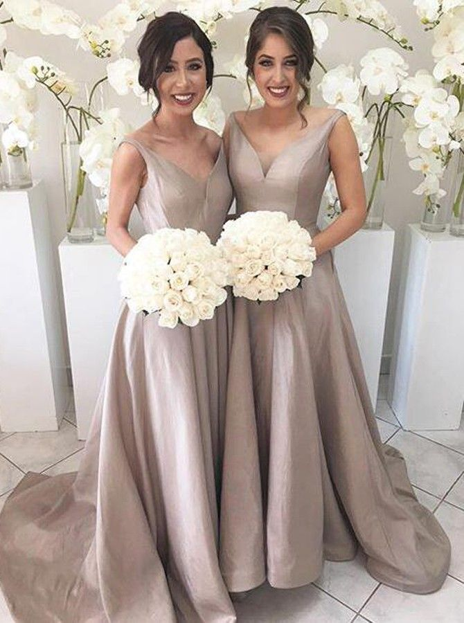 Simple V-neck Sleeveless Hi Low Sweep Train Silver Bridesmaid Dress