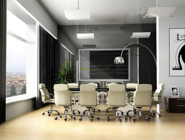 Office Meeting Room Design Inspiration With White Armchairs Furniture Ideas  Also Unique Curved Alminum Floor Lamps And Beautiful Outdoor Scenery Ideas  For ...