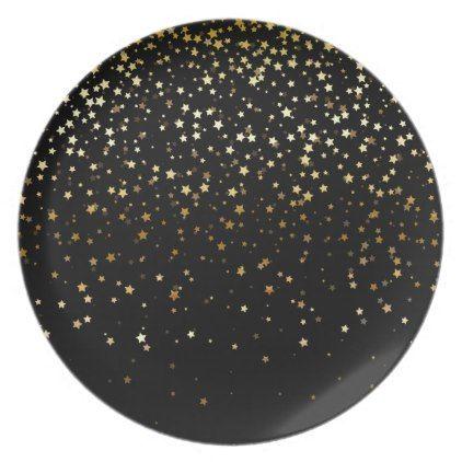 Plastic Plate-Gold Stars Dinner Plate - holidays diy custom design cyo holiday family
