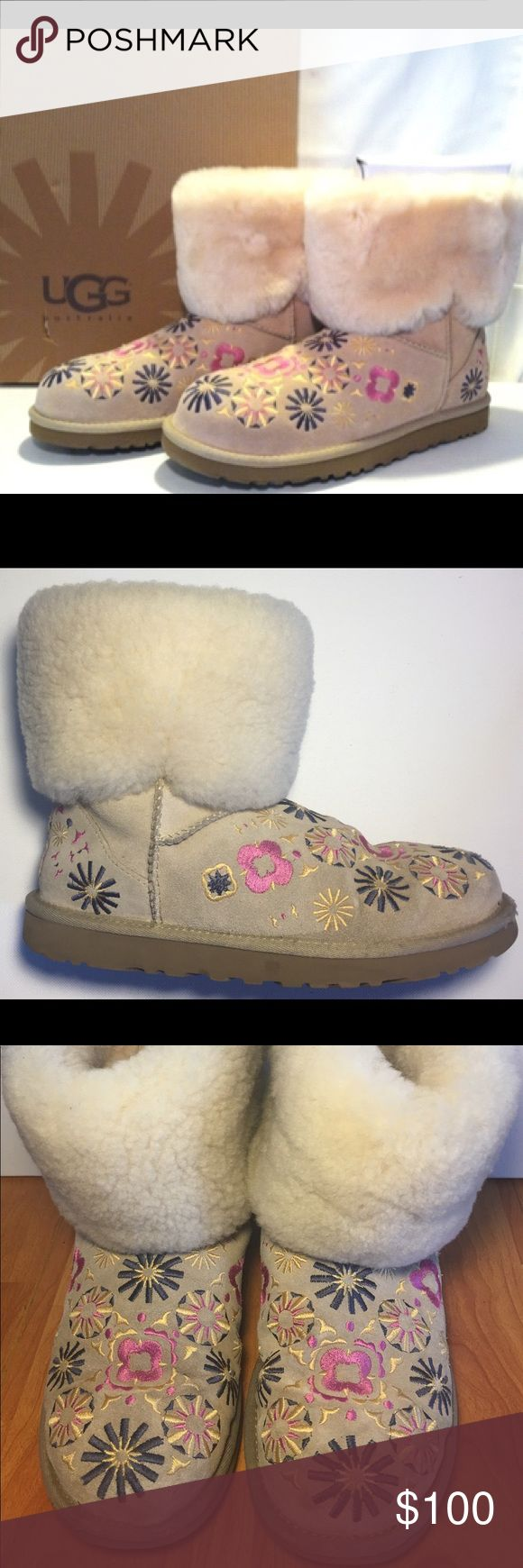 UGG Australia Marrakech Boots in EUC. UGG Australia Marrakech Boots in EUC. Add a little Marrakech influence to your ensemble with the Embroidery Mid boot from UGG Australia.  * Twin-faced sheepskin upper with a sheepskin-lined shaft for added warmth.  * Colorful embroidery detail adds fun to your look and tons of added appeal.  * Sheepskin-lined shaft and footbed helps wick away moisture for added breathability.  * Flexible molded EVA outsole gives a lightweight durability…
