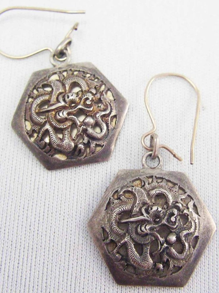 Antique 900 Silver Entwined Egyptian Revival SNAKES Rare RARE Earrings Repousse