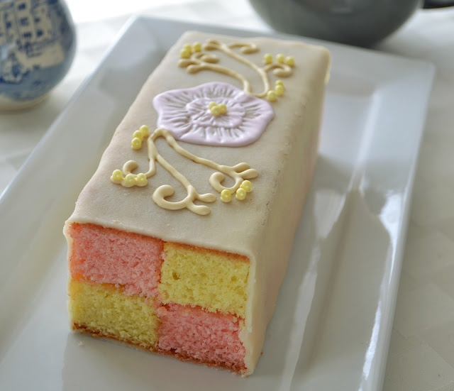 Traditional Battenberg Cake with Royal Icing Brush Embroidery