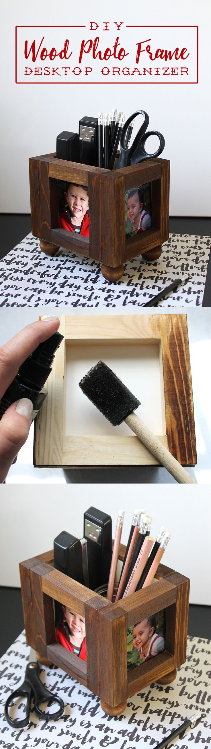 This rustic wood photo desktop office organizer is a super easy project. No cutting wood required! It would be such a cute gift idea for a grandparent or aunt or uncle.  A great way to gift pictures of your kids!