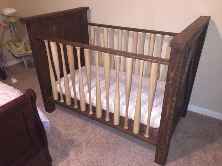 Baseball Bat Crib. Hand made solid wood crib made with real baseball bats. Can be stained/painted any color. Water based stains/paints used so it's safe for baby.    https://www.etsy.com/listing/270274604/baseball-bat-crib