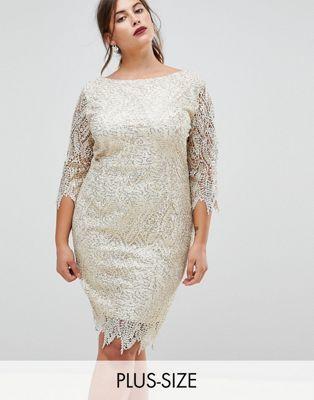 Paper Dolls Plus Sequin Crochet 3/4 Sleeve Pencil Dress