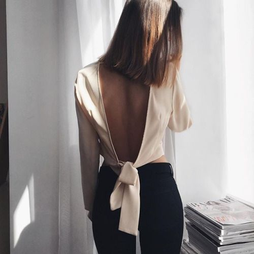 backless tie top and skinny black denims