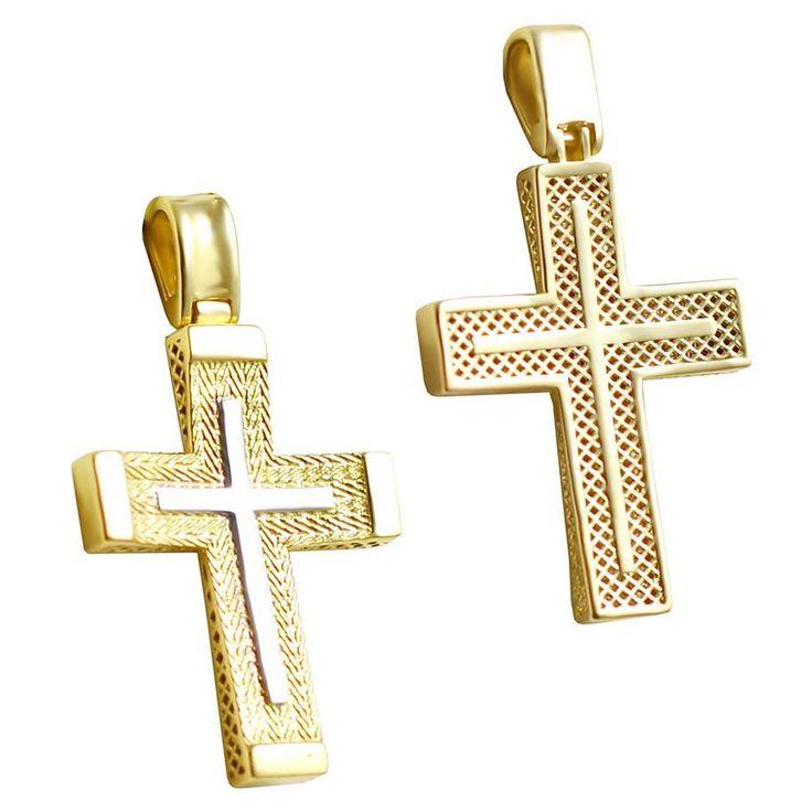 ΣΤ657 Χρυσός βαπτιστικός σταυρός δυο όψεων με διχρωμία