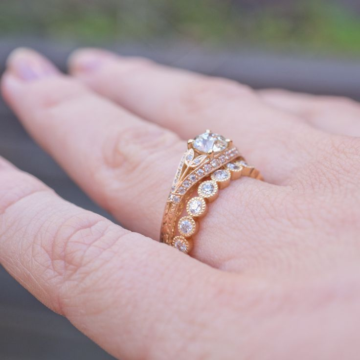 A Single Stone diamond and gold wedding set, Chloe and Gabby. View our collection of diamond engagement, wedding and celebration rings in our stores or online, www.rutherford.com.au