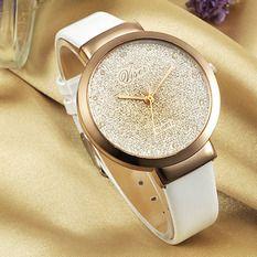 Viser Jam Tangan Wanita Analog Korea Fashion Leather Strap Quartz Lady Wristwatch Casual Watch - WHITE