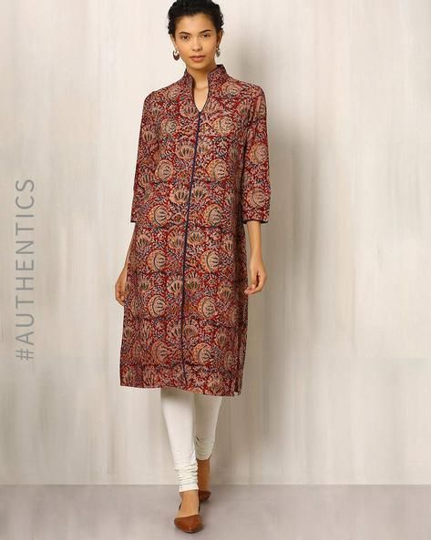 Buy Multicoloured Indie Picks Handblock Print Kalamkari Cotton Kurta