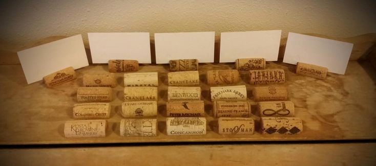 100 USED Natural Wine Cork Place Card Holders-Wedding Decor by WineCorkWeddings on Etsy https://www.etsy.com/listing/473679205/100-used-natural-wine-cork-place-card