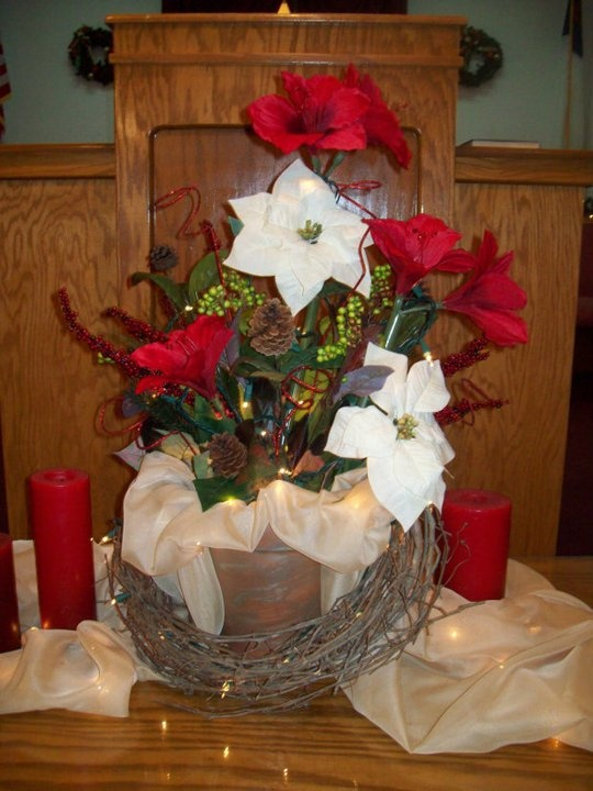 Christmas communion table centerpiece church decor for Fun decorations for christmas
