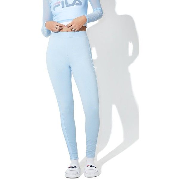Fila Lia Pants ($60) ❤ liked on Polyvore featuring fila pants, thick pants, blue stripe pants, blue trousers and blue stretch pants