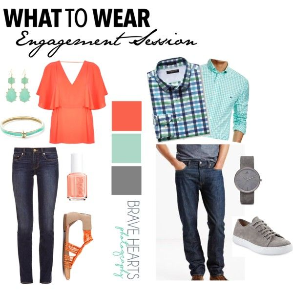 Outfit inspiration for a couple doing an engagement photo shoot.  Coral and mint/seafoam are a good color combination because they are complimentary colors (opposite on the color wheel).  They are bright and bold colors, so pair them with neutrals like denim and gray.
