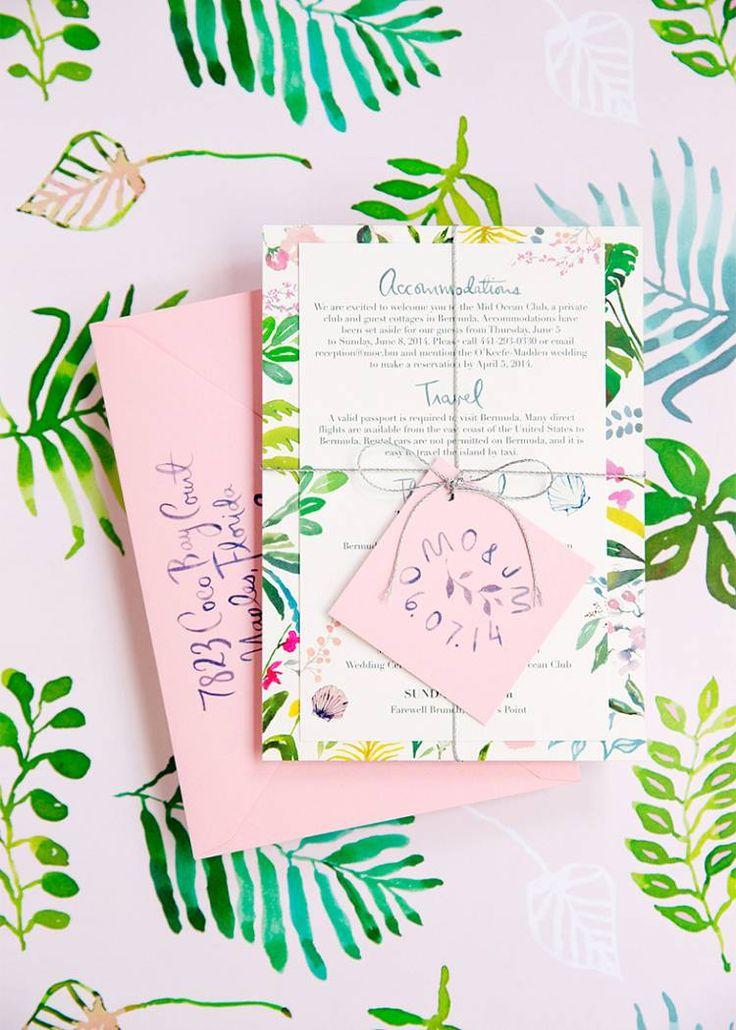 Wedding invitation, tropical color palette