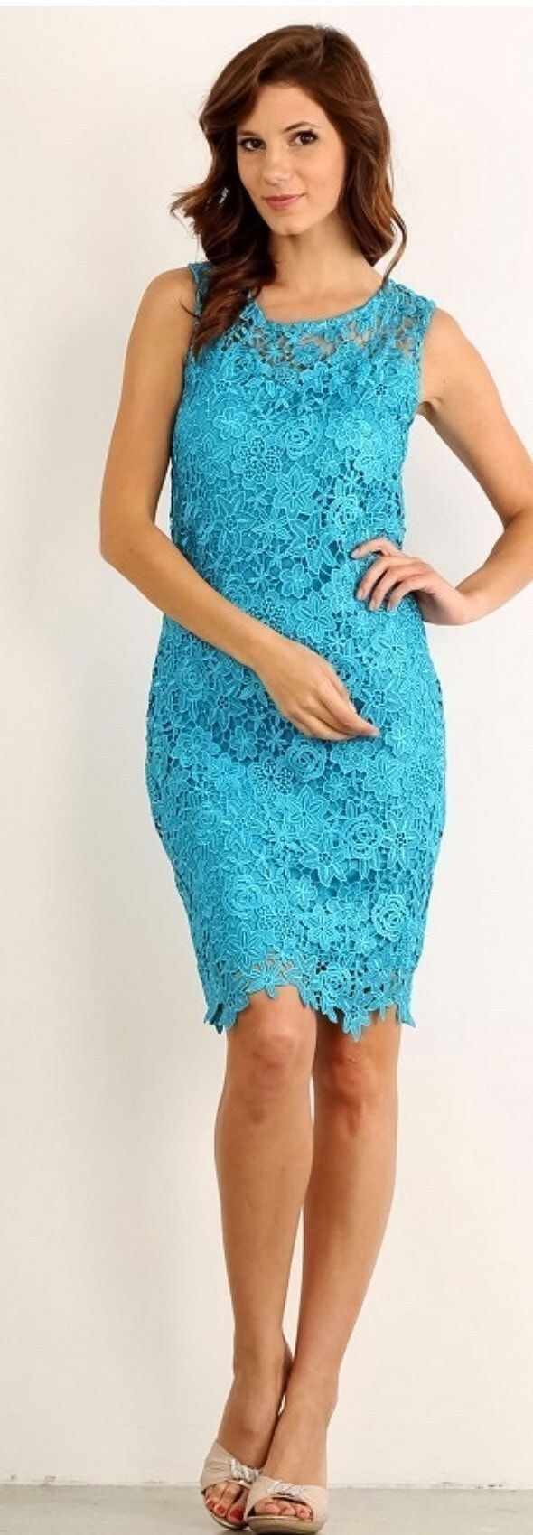 Teal Dress - Illusion Lace Dress - Sheath Dress - Lace Dress | This beautiful teal blue lace dress is such a classic design. This dress would be perfect for all of your formal occasions and semi formal occasions. This evening dress would also work well as a party dress, cocktail dress, formal dress, semi formal dress, and bridesmaid dress. Looking for the perfect dress for your engagement party, bachelorette party, bridal shower, rehearsal dinner, homecoming or prom dress.