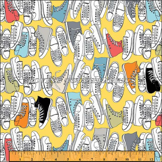 Riley Blake Sports Tennis Athletic Shoes Cotton Fabric Yellow