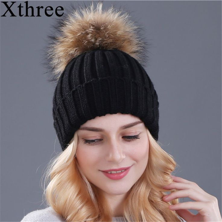 AliExpress.com Product - Hot sale mink and fox fur pom poms hat for women girl 's winter knitted cotton beanies cap 2015 brand new thick female cap