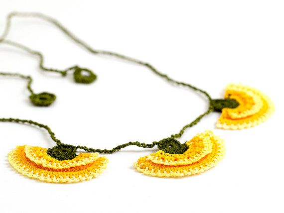 Crochet Lace Carnation Necklace Yellow Green by PinaraDesign